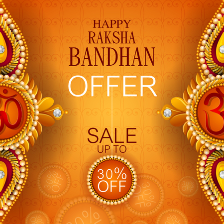 Rakhi Shopping Sale background for Indian festival Raksha bandhan celebration Illustration