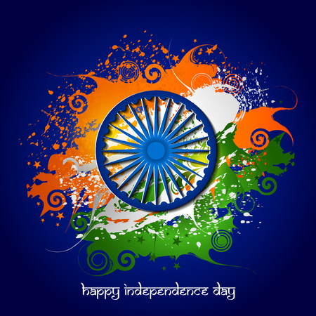 Easy to edit vector illustration of Ashoka Chakra on Happy Independence Day of India background. Çizim