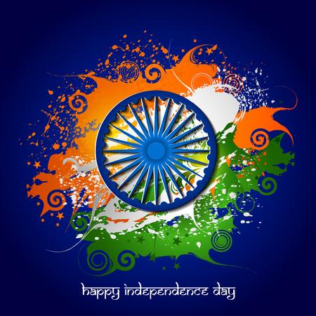 Facile da modificare illustrazione vettoriale di Ashoka Chakra su Happy Independence Day dell'India sfondo. Archivio Fotografico - 81880122