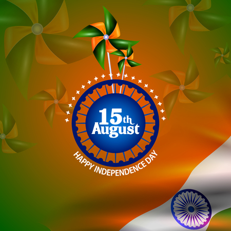 easy to edit vector illustration of Ashoka Chakra on Happy Independence Day of India background