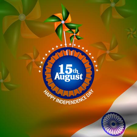 democracia: Fácil de editar ilustración vectorial de Ashoka Chakra en Feliz Día de la Independencia de la India de fondo