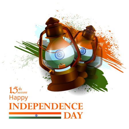 rural india: easy to edit vector illustration of Indian Flag on Happy Independence Day of India background