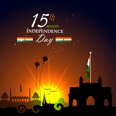 easy to edit vector illustration of Monument and Landmark of India on Indian Independence Day celebration background Illustration