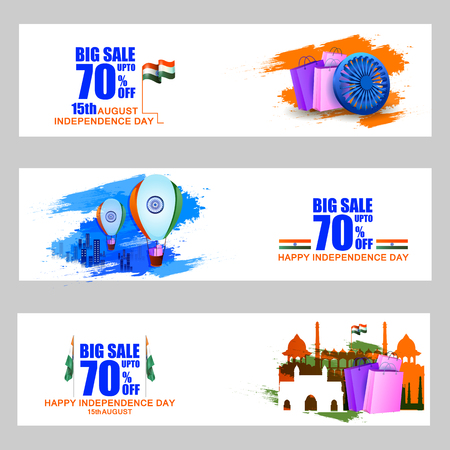 celebration background: easy to edit vector illustration of Indian Flag on Happy Independence Day of India Sale and Promotion background