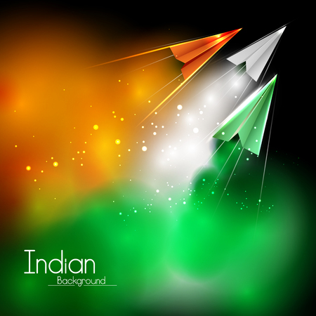 easy to edit vector illustration of tricolor paper plane flying on Happy Independence Day of India background