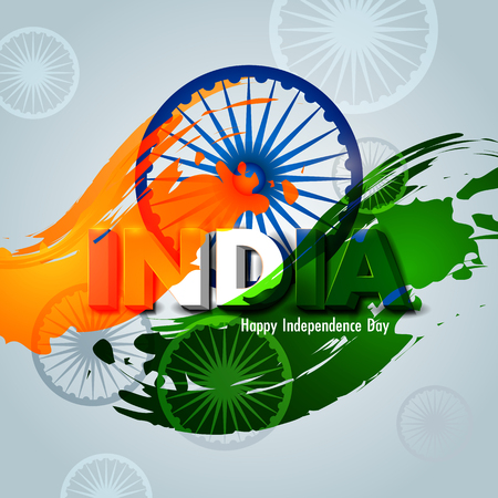 Easy to edit vector illustration of Ashoka Chakra on Happy Independence Day of India background Illustration
