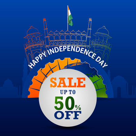 easy to edit vector illustration of Indian Flag on Happy Independence Day of India Sale and Promotion background