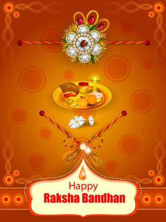 thali: Rakhi background for Indian festival Raksha bandhan celebration