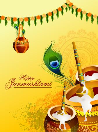 Happy Krishna Janmashtami greeting background
