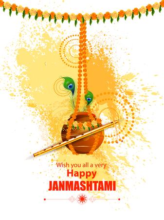 Easy to edit vector illustration of Happy Krishna Janmashtami Dahi Handi meaning cream and pot background illustration.