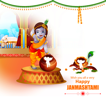 Easy to edit vector illustration of Happy Krishna Janmashtami greeting background illustration.
