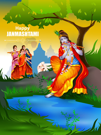 radha: Easy to edit vector illustration of Lord Krishna and Radha on Happy Janmashtami background illustration.