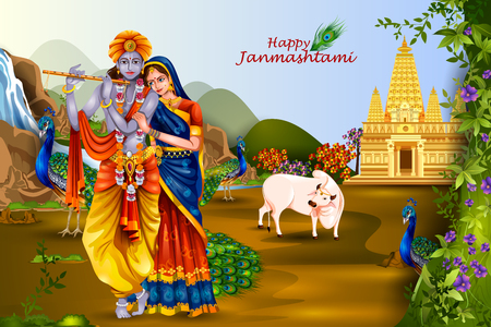 radha: easy to edit vector illustration of Lord Krishna and Radha on Happy Janmashtami background