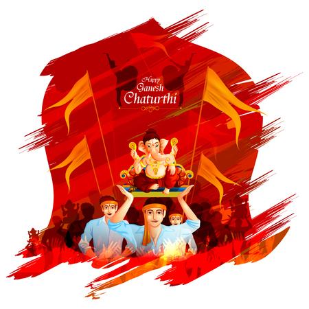 Lord Ganpati op achtergrond van Ganesh Chaturthi
