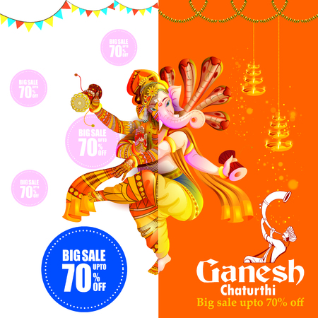 Lord Ganpati on Ganesh Chaturthi sale promotion advertisement background