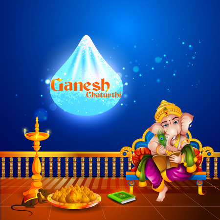 hinduismo: Lord Ganpati en el fondo de Ganesh Chaturthi