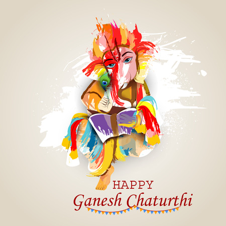 Easy to edit illustration of Lord Ganpati on Ganesh Chaturthi