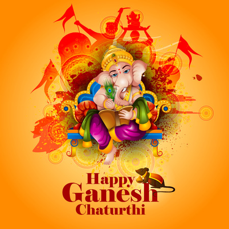 Lord Ganpati on Ganesh Chaturthi in amber background