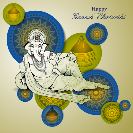 Lord Ganpati on Ganesh Chaturthi in color green background