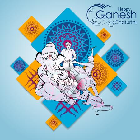 Lord Ganpati on Ganesh Chaturthi in color blue background 일러스트