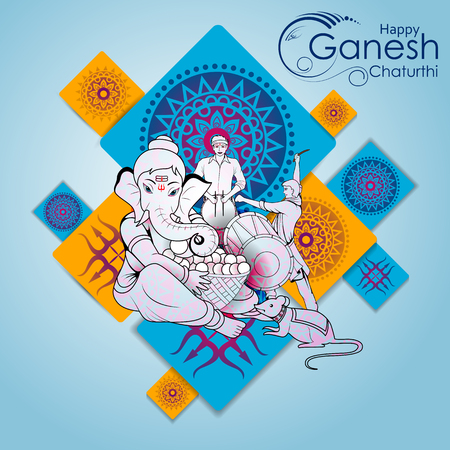 Lord Ganpati on Ganesh Chaturthi in color blue background Stock Illustratie