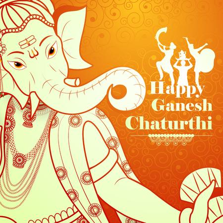 Lord Ganpati on Ganesh Chaturthi color orange background
