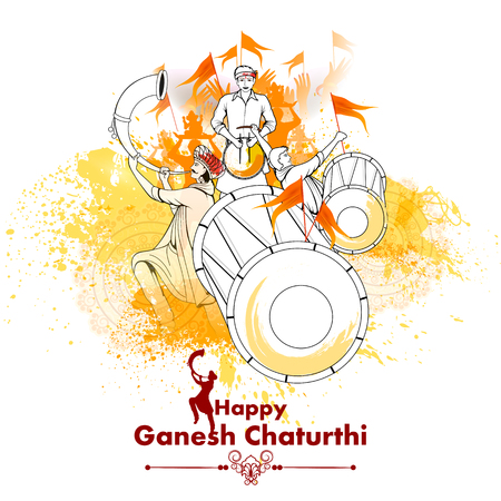 Lord Ganpati sobre Ganesh Chaturthi en fondo aislado