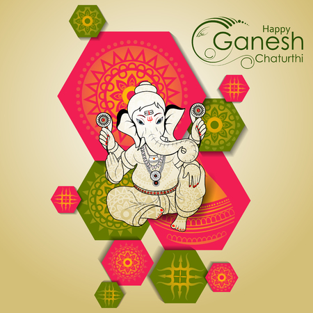 Lord Ganpati on Ganesh Chaturthi background Stok Fotoğraf - 83918329