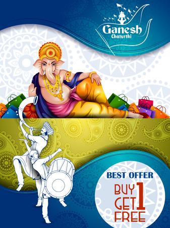 Lord Ganpati on Ganesh Chaturthi sale promotion advertisement in blue background