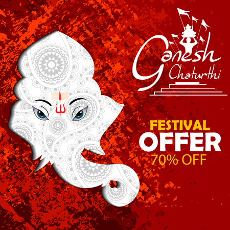 Lord Ganpati on Ganesh Chaturthi sale promotion advertisement background in red
