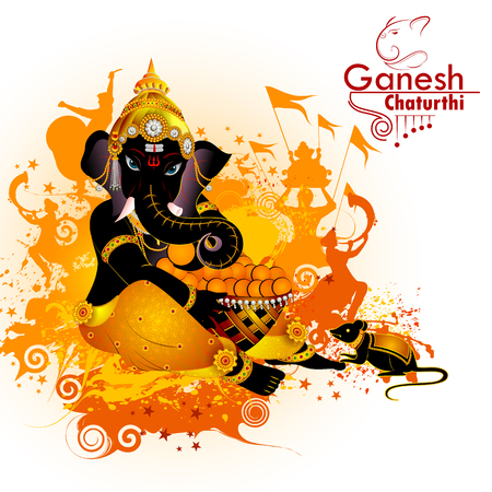 Lord Ganpati on Ganesh Chaturthi in isolated background