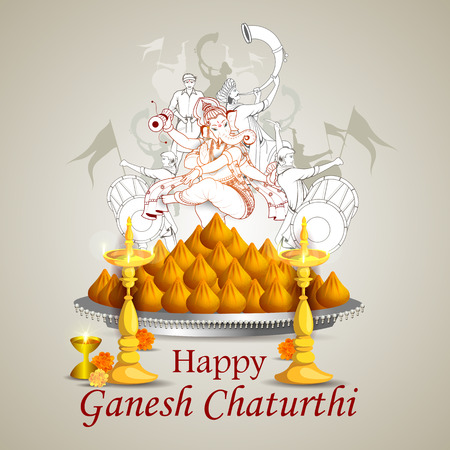 Lord Ganpati en Ganesh Chaturthi fondo en color gris