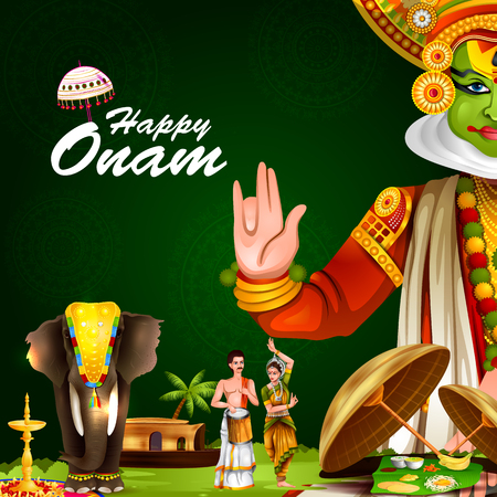easy to edit vector illustration of Happy Onam holiday for South India festival background