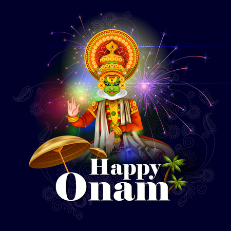 people: easy to edit vector illustration of Happy Onam holiday for South India festival background