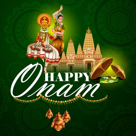 sravanmahotsav: Easy to edit vector illustration of Happy Onam holiday for South India festival background