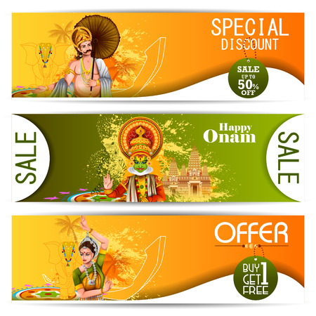 Easy to edit vector illustration of Happy Onam holiday for South India festival promotion for shopping sale background.