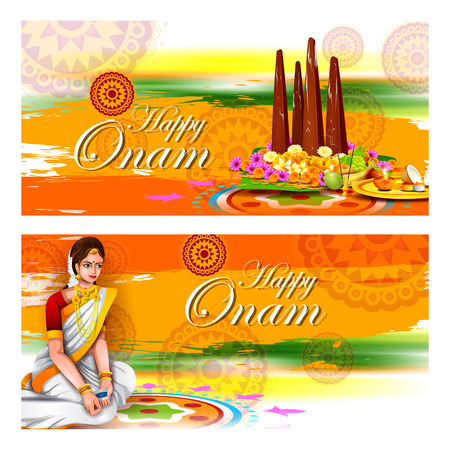 people: Easy to edit vector illustration of Happy Onam holiday for South India festival background.