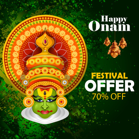 religious event: Easy to edit vector illustration of Happy Onam holiday for South India festival promotion for shopping sale background.