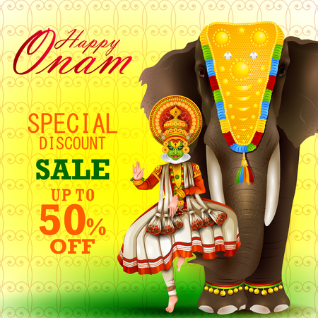Easy to edit vector illustration of Happy Onam holiday for South India festival promotion for shopping sale background Illustration
