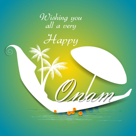 traditional culture: Easy to edit vector illustration of Happy Onam  holiday for South India festival background