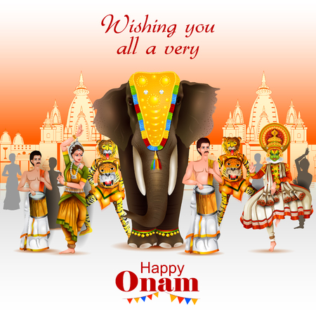 festive occasions: Easy to edit vector illustration of Happy Onam holiday for South India festival background