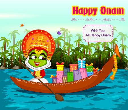backwater: Kathakali dancer offering shopping sale for Onam festival of Kerala