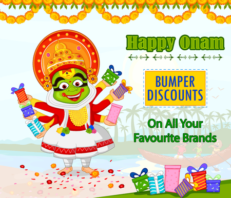 sravanmahotsav: Kathakali dancer offering shopping sale for Onam festival of Kerala