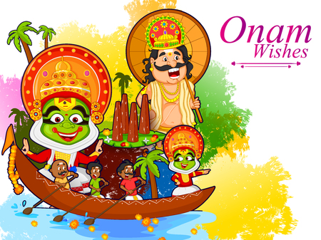 Kathakali dancer doing boat race of Kerala for Onam