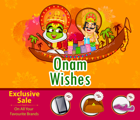 traditional culture: Kathakali dancer and King Mahabali offering shopping sale for Onam festival of Kerala Illustration