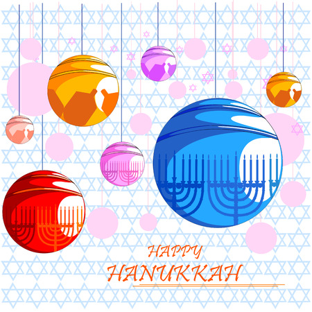 Happy Hanukkah for Israel Festival of Lights celebration Illustration