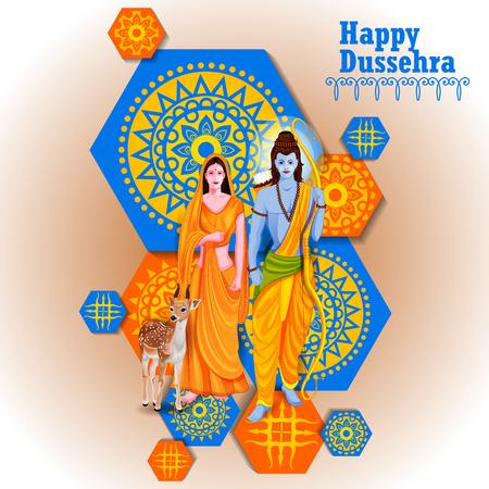 Happy Dussehra background showing festival of India Ilustração