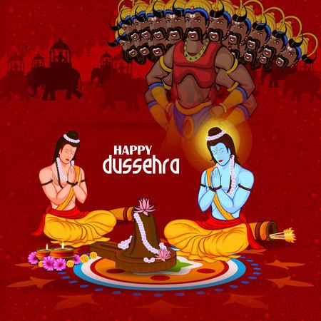 dashamukha: Happy Dussehra background showing festival of India Illustration