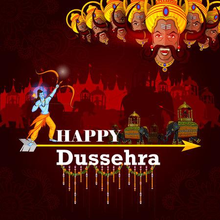 Happy Dussehra background showing festival of India Ilustrace