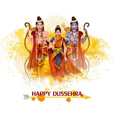 Happy Dussehra background showing festival of India Vectores